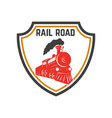 emblem template with retro train rail road vector image
