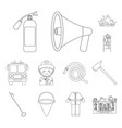 fire department outline icons in set collection vector image