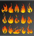 fire flame transparent icon set vector image vector image