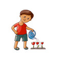 flat boy watering tulip flower isolated vector image vector image
