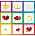 flat icon amour set of engagement patisserie vector image vector image
