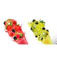 fruit in juice splashes strawberry blackberry vector image vector image