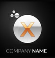 gold letter x logo silver dots splash and bubble vector image