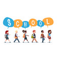 group of pupils mix race walking back to school vector image vector image