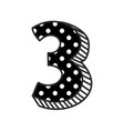 hand drawn number 3 with white polka dots on black vector image vector image