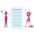 happy birthday poster man woman invitation card vector image vector image