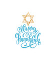 happy hanukkah hand lettering with david vector image