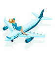 isometric stewardess sits on the airplane beautif vector image