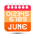 June Paper Calendar Isolated on White Background vector image vector image