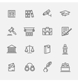 Legal law and justice icon set vector image