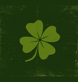 lucky clover on old dark green paper vector image vector image