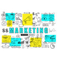 marketing business concept with doodle design vector image