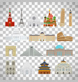 monuments flat icons on transparent background vector image