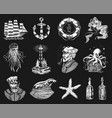 nautical adventure set sea lighthouse mermaid vector image vector image