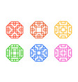 octagon chinese window frame with line pattern vector image vector image