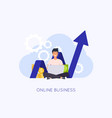 online business concept man with laptop create vector image