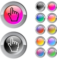 Pixel hand multicolor round button vector image vector image
