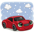 red car with eyes on on a sky background vector image