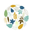 round template with tree leaves vector image vector image