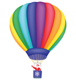Santa Claus flying on air balloon vector image