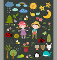 set hand drawn nature with kids vector image