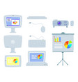 set of office equipment computer projector vector image