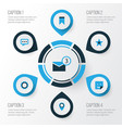 social colorful icons set collection of vector image