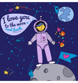 Valentines Day Card with Spaceman vector image vector image