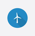 wind mill Flat Blue Simple Icon with long shadow vector image vector image