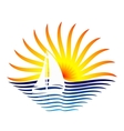 logo with the sailboat and sun vector image