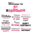 Pink happy birthday typography text isolated on vector image