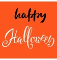 Happy Halloween text lettering on orange vector image