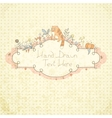 Stylish floral hand drawn frame vector image