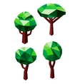 Green trees icons in 3D low poly style vector image