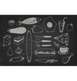 set of hand drawn doodle food on chalkboard vector image