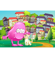 A pink monster patting a pet at the hilltop across vector image vector image