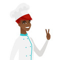 african-american chef cook showing victory gesture vector image vector image