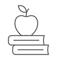 apple on the books thin line icon school vector image vector image