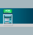 atm - automated teller machine with green lightbox vector image
