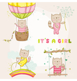 Baby Girl Cat Set - for Baby Shower Cards vector image vector image