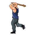 bald strong man brandishing cudgel vector image