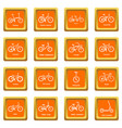 bicycle types icons set orange square vector image vector image