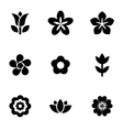 black flowers icon set vector image vector image