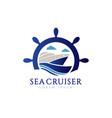 blue sail ship explore logo symbol vector image