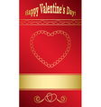 bright red card with gold hearts for valentine day vector image vector image