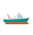cartoon fishing boat icon on a white vector image vector image