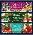 christmas banner with xmas holiday gift and santa vector image vector image