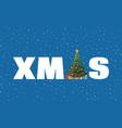 christmas tree decorated and xmas word vector image
