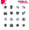 corona virus 2019 and 2020 epidemic 16 solid vector image vector image