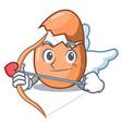 cupid character broken egg on floor cartoon vector image